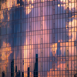 Sunset Reflection in Keiv by Gary Hanson - Buildings & Architecture Architectural Detail ( reflection, kiev, sundown, windows, pixels )
