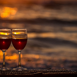 Sweet twix by Sergey Kravtsov - Artistic Objects Glass ( canon, still life, sunset, vine, romantic, glass, sea, sunrise )