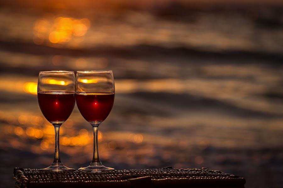 Sweet twix by Sergey Kravtsov - Artistic Objects Glass ( canon, still life, sunset, vine, romantic, glass, sea, sunrise )