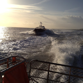 Pilot Boat chase by Mick Heywood - Transportation Boats ( pilot boat, boat chase, sea, ramsgate, boat )