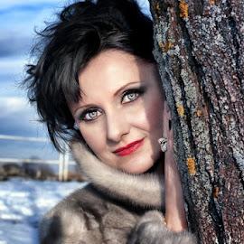 KARMEN by Alexandru Tache - People Portraits of Women ( love, life, winter, tree, woman, snow, outdoor, white, smile, light, eyes )