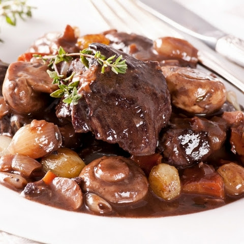 Beef Bourguignon with bacon