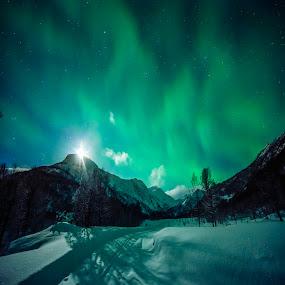 Night by Jens Andre Mehammer Birkeland - Instagram & Mobile Other ( moon, instagram, winter, aurora borealis, snow,  )