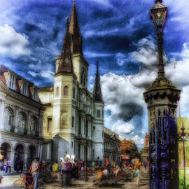 St Louis Cathedral by Dave Walters - Digital Art Places ( entertainment, french quarter, st louis cathedral, new orleans, street musicians, colors,  )