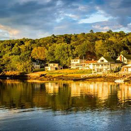 MidCoast of Maine by Patricia Kousaleos - City,  Street & Park  Vistas ( clouds, water, home, reflection, sky, colors, lake, boat, landscape )