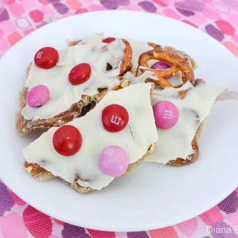 Strawberry M&M Caramel Pretzel Bark