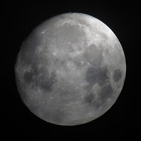 Waxing Gibbous by Michele Whitlow - Landscapes Starscapes ( waxing gibbous, clouds, moon, phases, lunar, astrophotography,  )
