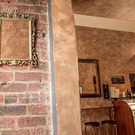 coffee Shop by Thomas Shaw - Buildings & Architecture Other Interior ( cooler, mirror, shop, coffee house, chairs, asheville, coffee, bricks, coffee shop, north carolina )