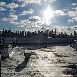 View from a Jersey rooftop by Mario Spiz - City,  Street & Park  Skylines ( cityscapes, big apple, sunny, sunny day, cityscape, new york, nyc, ny, new jersey, city )