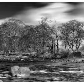River Ayr by Stephen Crawford - Digital Art Places ( clouds, black and white, rocks, soft, river,  )