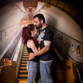 Subway by Mel Stratton - People Couples ( love, subway, wallpaper, background, couple )
