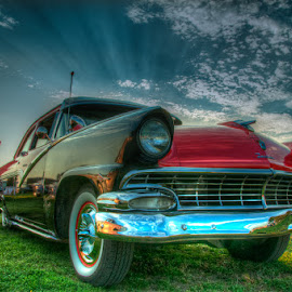 Old Shine by Chris Cavallo - Transportation Automobiles ( clouds, sky, red, old car, maine, pink, car show, antique, black )
