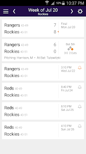 Baseball Schedule for Rockies - screenshot