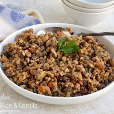 Savory Slow Cooker Brown Rice and Lentils