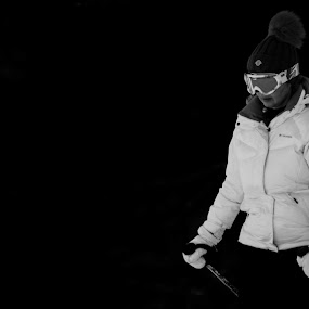 Ski by Alexandru Bogdan Grigore - Sports & Fitness Snow Sports ( skiing, mountains, winter, nature, black and white, woman )