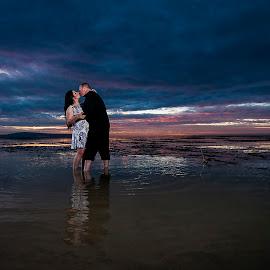 Morning Kiss by Amin Basyir Supatra - Wedding Bride & Groom ( love, bali, prewedding, wedding, beach, morning )