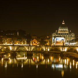 Night at the Vatican by Yash Mehta - Buildings & Architecture Statues & Monuments ( night photography, reflections, long exposure, architecture, travel photography )