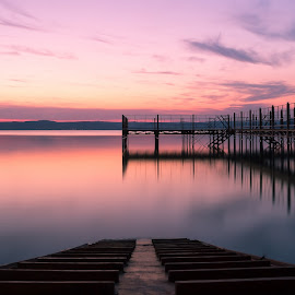 Path by Ádám Fazekas - Landscapes Sunsets & Sunrises ( water, clouds, sky, sunset, lake, long exposure, sun,  )