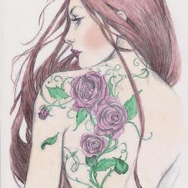 Tattooed Back.... by Melanie Goins - Illustration People ( tattoo, flowers, woman, leaves, back )