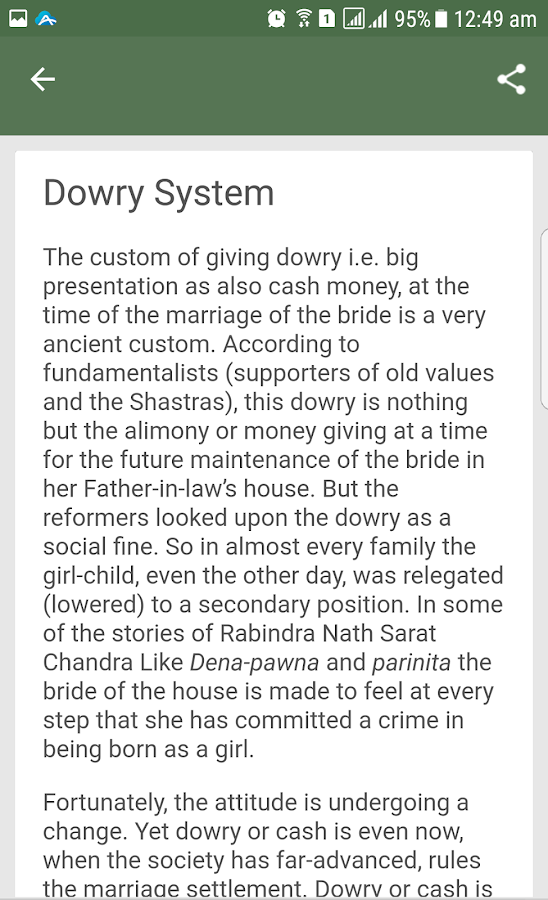 Write an essay on dowry system