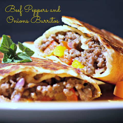 Beef Peppers and Onions Burritos #SundaySupper