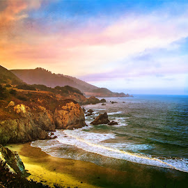 California Colorful by Joan Sharp - Digital Art Places ( coastline, sunrise, rocks and ocean, ca, colorful,  )
