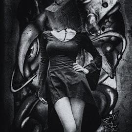 by Cornel Gingarasu - Digital Art People ( black and white, art, illustration, fine art, dark art, low light, people, fantastic, artwork, grace, fantasy, woman, dark, artistic, fine art photography, legs, artist, wall )