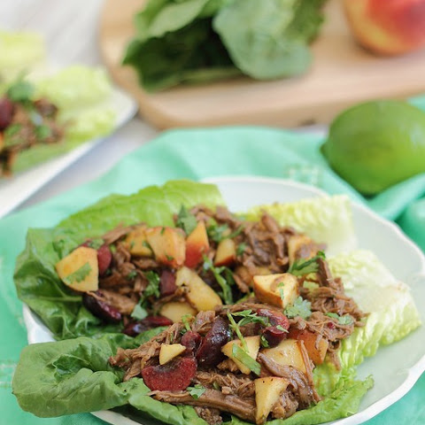 Carnitas Lettuce Wraps With Cherry Peach Salsa