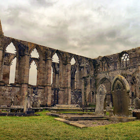 Bolton Abbey by James Holdsworth - Buildings & Architecture Public & Historical ( stormy, graves, arches, stone, abbey )