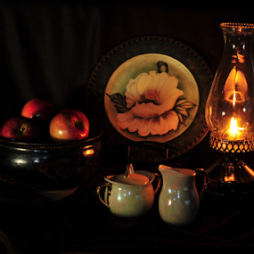 Kitchens of the past by Janet Gilmour-Baker - Artistic Objects Still Life ( lamps, kitchens, plates, still life, art, artistic objects, light, shadows, photography,  )