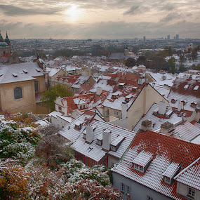 Prague, view from the castle by Peter Podolinsky - City,  Street & Park  Historic Districts ( praha )