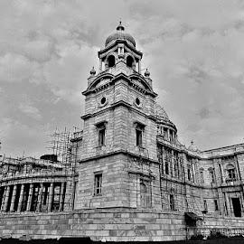 Victoria Memorial, Kolkata by Basu Argha - Buildings & Architecture Public & Historical ( black and white, wide angle, historical, architecture, historic )