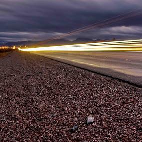 Long road by David Spillane - Uncategorized All Uncategorized ( highway, texture, nevada, light trails, dusk,  )