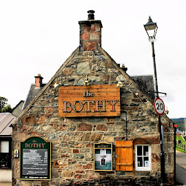 The Bothy by Tina Stevens - Buildings & Architecture Other Exteriors ( scotland, hill, exterior, brick, menu, stone, windows, tavern, architecture, highlands, restaurant, pub, fort augustus, lightpost, 18th century, bar, the bothy, lamp post )