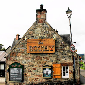 The Bothy by Tina Stevens - Buildings & Architecture Other Exteriors ( scotland, hill, exterior, brick, menu, stone, windows, tavern, architecture, highlands, restaurant, pub, fort augustus, lightpost, 18th century, bar, the bothy, lamp post,  )
