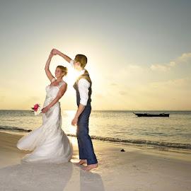 Dance Sunset by Andrew Morgan - Wedding Bride & Groom ( love, weddingdress, zanzibar, wedding, sunset, happiness, paradise, destination wedding photographers, sance )