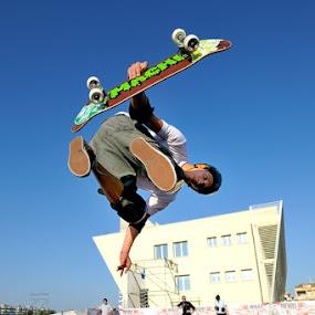 The spot by Fabio Ponzi - Sports & Fitness Skateboarding ( blu, skate, wheel, fly, helmet, spot )