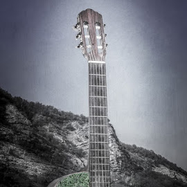 Le Tunnel guitare  by Eric  Baures - Digital Art Places ( guitar, roads, tunnel )