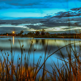 A soft night by Casey Smith - Novices Only Landscapes ( amazing, water, novice, nature, sunset, beautiful, ducks, amateur, night, long exposure, nikkon, pond )