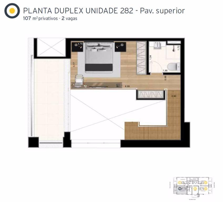 Planta Cobertura Duplex Superior Final 2 - 107 m²