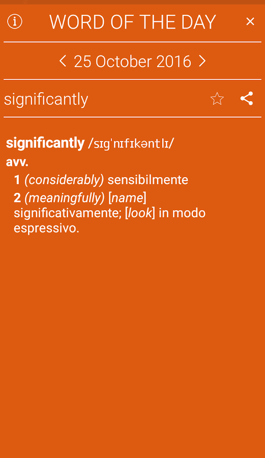 Concise Oxford Italian Dict Screenshot 2