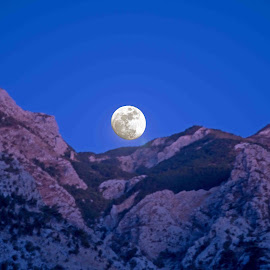 Moon over Greek Isls. by Will McNamee - Landscapes Mountains & Hills ( patty_j_ball@hotmail.com; donaldbarber11@msn.com; donaldbarber11@msn.com; d3a1@aol.com;  postholes2002@yahoo.com;,  )