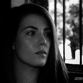 The window by Zurica Ribeiro - Novices Only Portraits & People ( monochrome, black and white, woman, portrait )