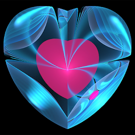 Heart inside heart by Cassy 67 - Illustration Abstract & Patterns ( hearts, blue, digital art, pink, fractal, digital, fractals, soft )