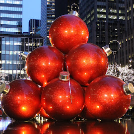 Stacked by Anna Tripodi - Artistic Objects Other Objects ( red, stacked up, christmas ball's, new york, city )