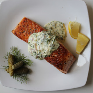 Seared Salmon with Dill-Cornichon Tartar