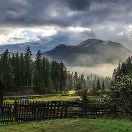 Early Morning Light by Leon Kauffman - Landscapes Mountains & Hills ( clouds, mountains, barn, montana, swan valley, light, spring )