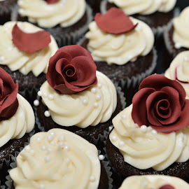 Cupcakes by Roberta Lott-Holmes - Food & Drink Cooking & Baking ( chocolate, karebear, cupcakes, weddings, roses )