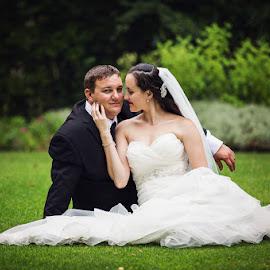 Brad & Zillah by Peter Hutchison - Wedding Bride & Groom ( seated, grass, wedding, bride and groom, garden )