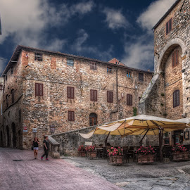 Down the streets of San Gimignano, Italy by Krasimir Lazarov - Buildings & Architecture Public & Historical ( tuscany, san gimignano, street, old town, tourism, historic district, architecture, cityscape, street photography, city, buildings, historical, italy )
